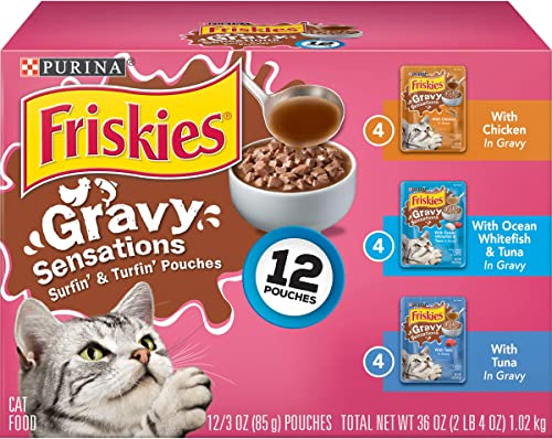 Purina Friskies Gravy Sensations Variety Packs Wet Cat Food, Surfin Turfin Favorites, 36 Ounces, Pack of 12