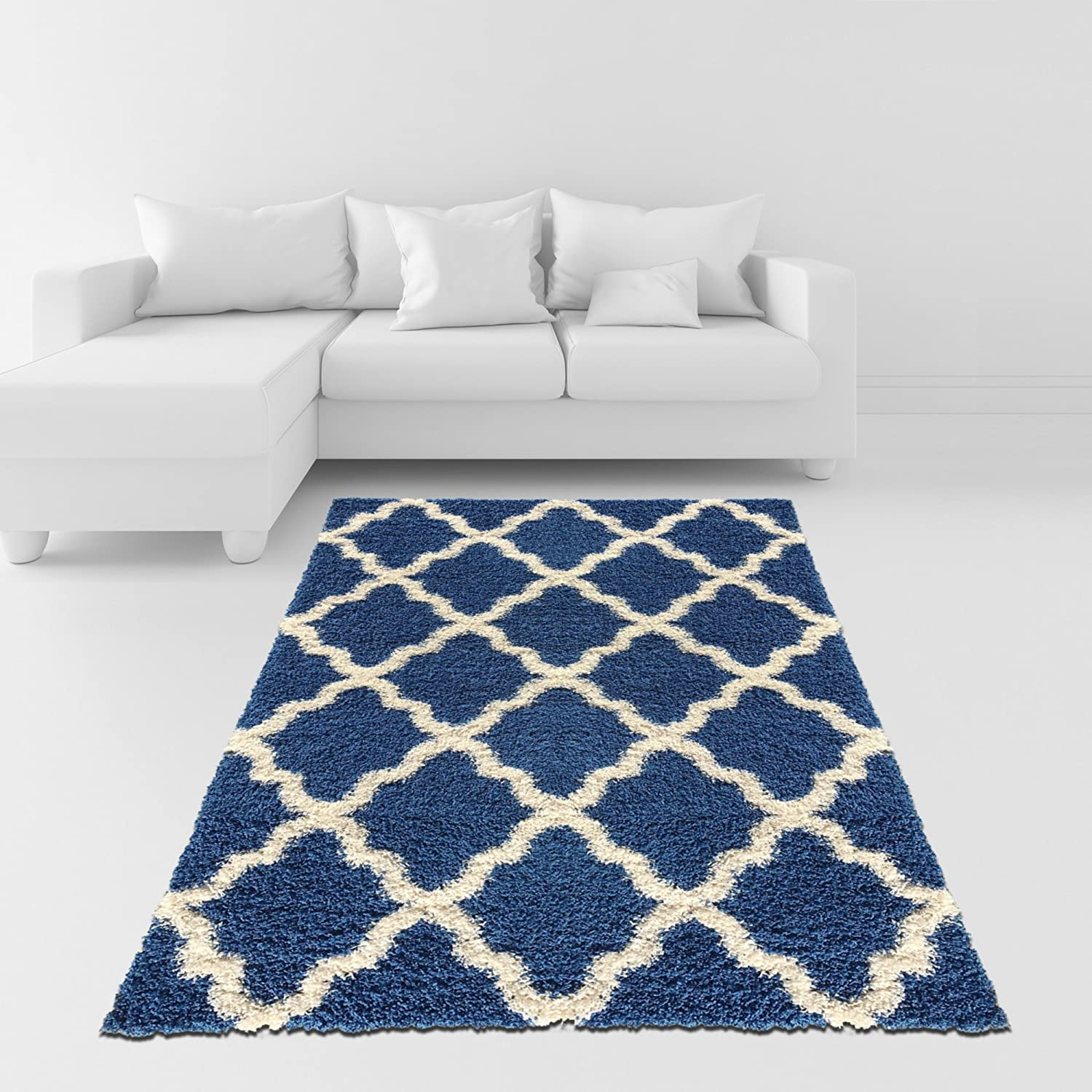 amazoncom soft shag area rug 5x7 moroccan trellis blue ivory shaggy rug area rugs for living room bedroom kitchen decorative modern shaggy - Grey Shag Rug