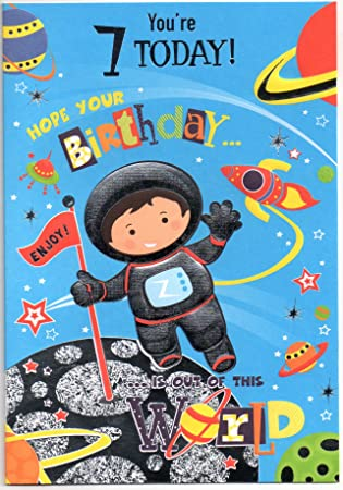Spaceman Birthday Card For Seven 7 Year Old Boy