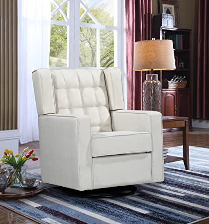 Awesome Oliver Smith Roosevelt Collection Contemporary Microfiber Mordern Sofa Chair Swivel Gliding Glider Sofa Arm Chairs 15016 Light Beige Forskolin Free Trial Chair Design Images Forskolin Free Trialorg
