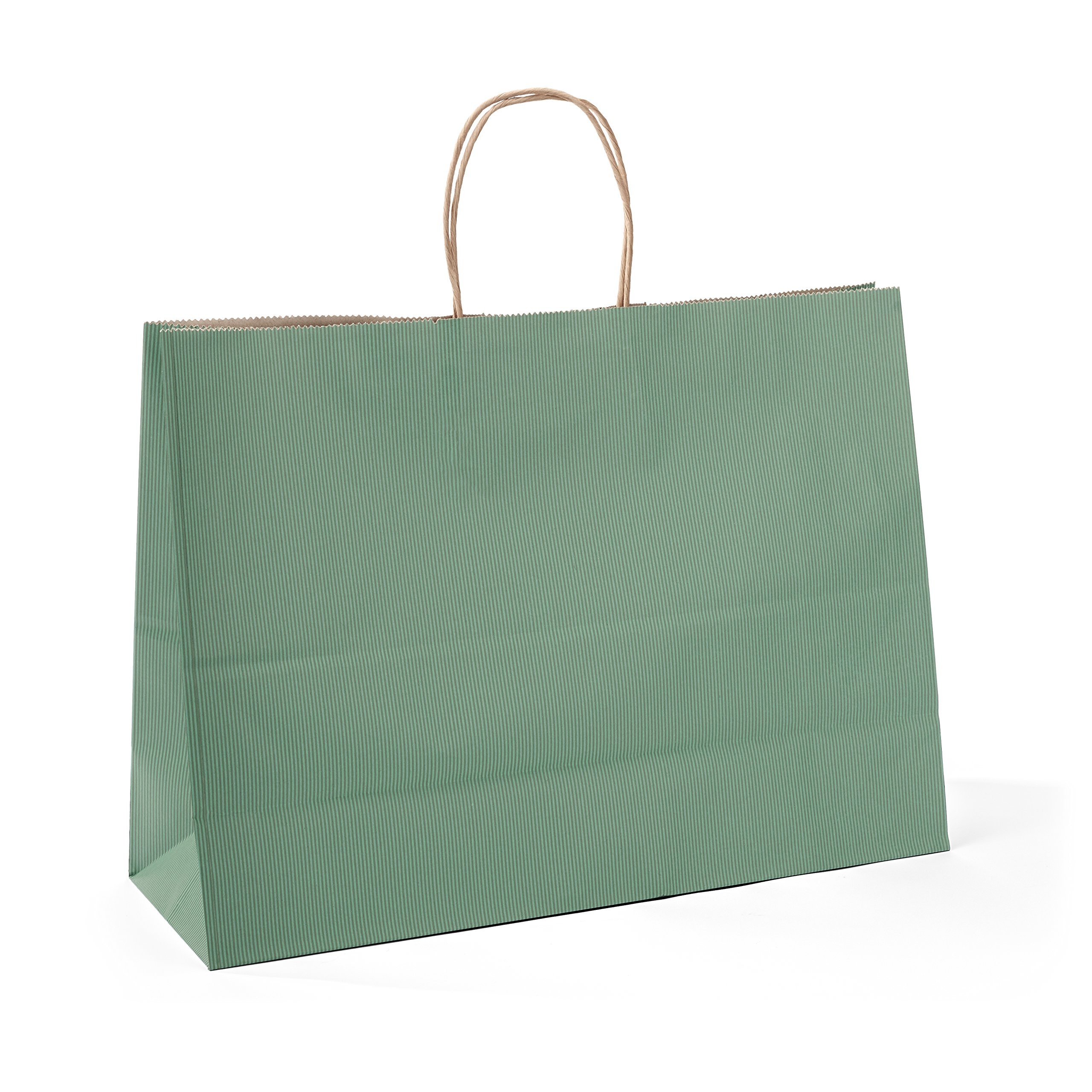 Halulu 50 Pcs 16x6x12inches Kraft Paper Bags,Handled, Gift, Party, Merchandise, Carry, Retail,Shopping Bags (green)