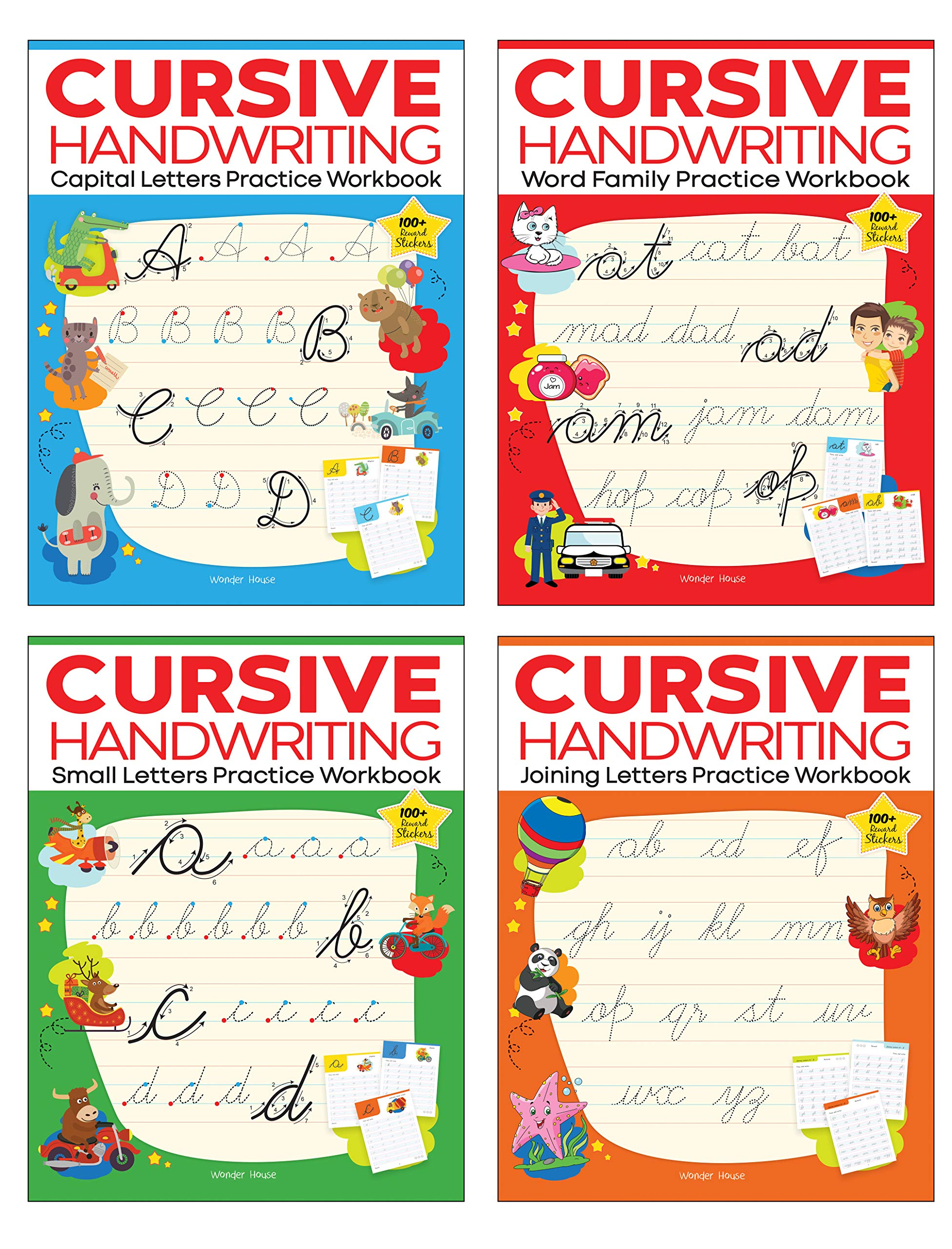 Cursive Handwriting – Small Letters, Capital Letters, Joining Letters and Word Family : Level 1 Practice Workbooks For Children (Set of 4 Books)
