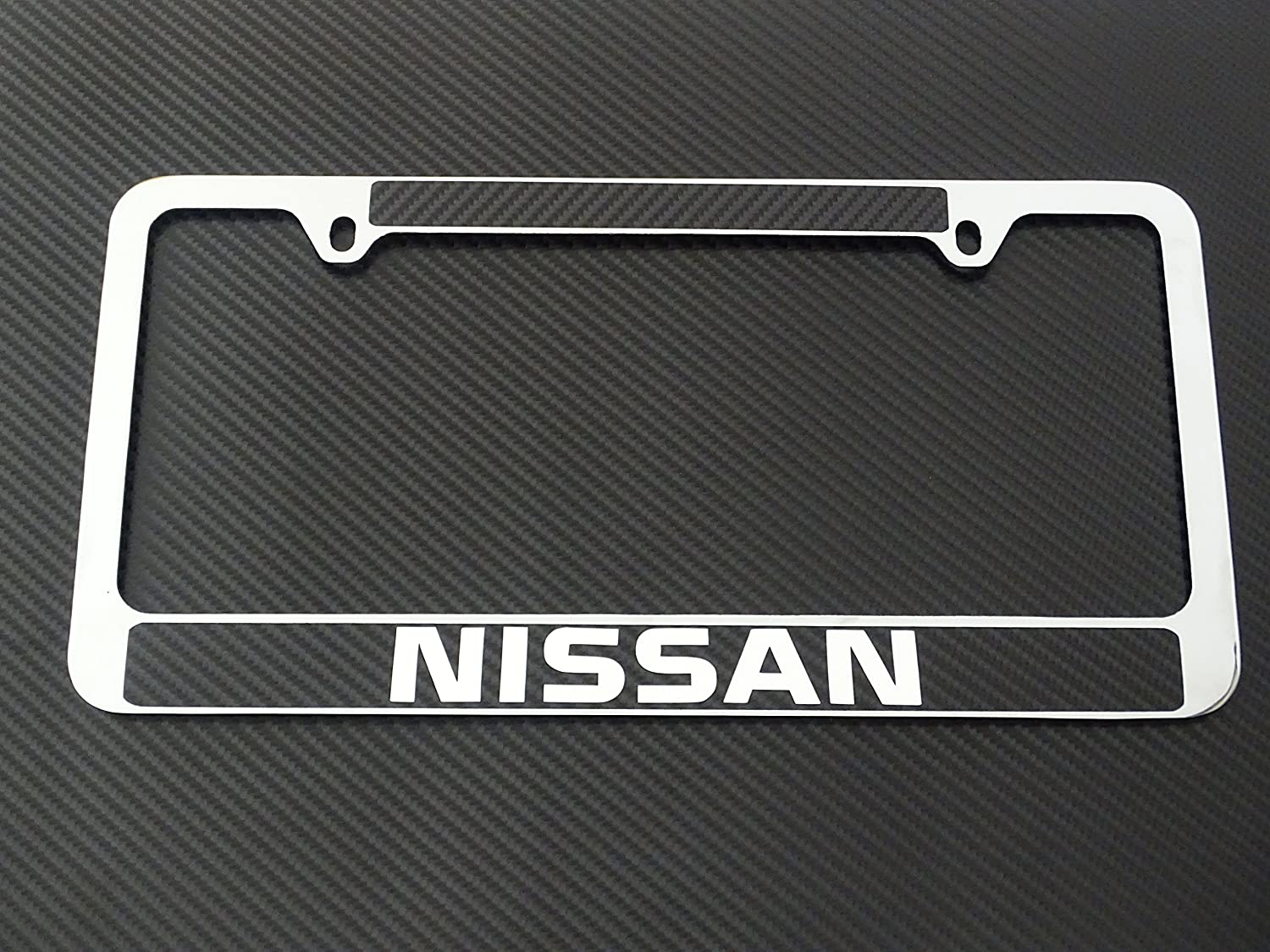 Carbon Fiber Details,Chrome Text Nissan License Plate Frame Chrome Metal