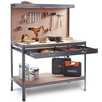VonHaus Garage Workbench Pegboard Heavy Duty Reinforced Steel With Storage Drawer Shelf