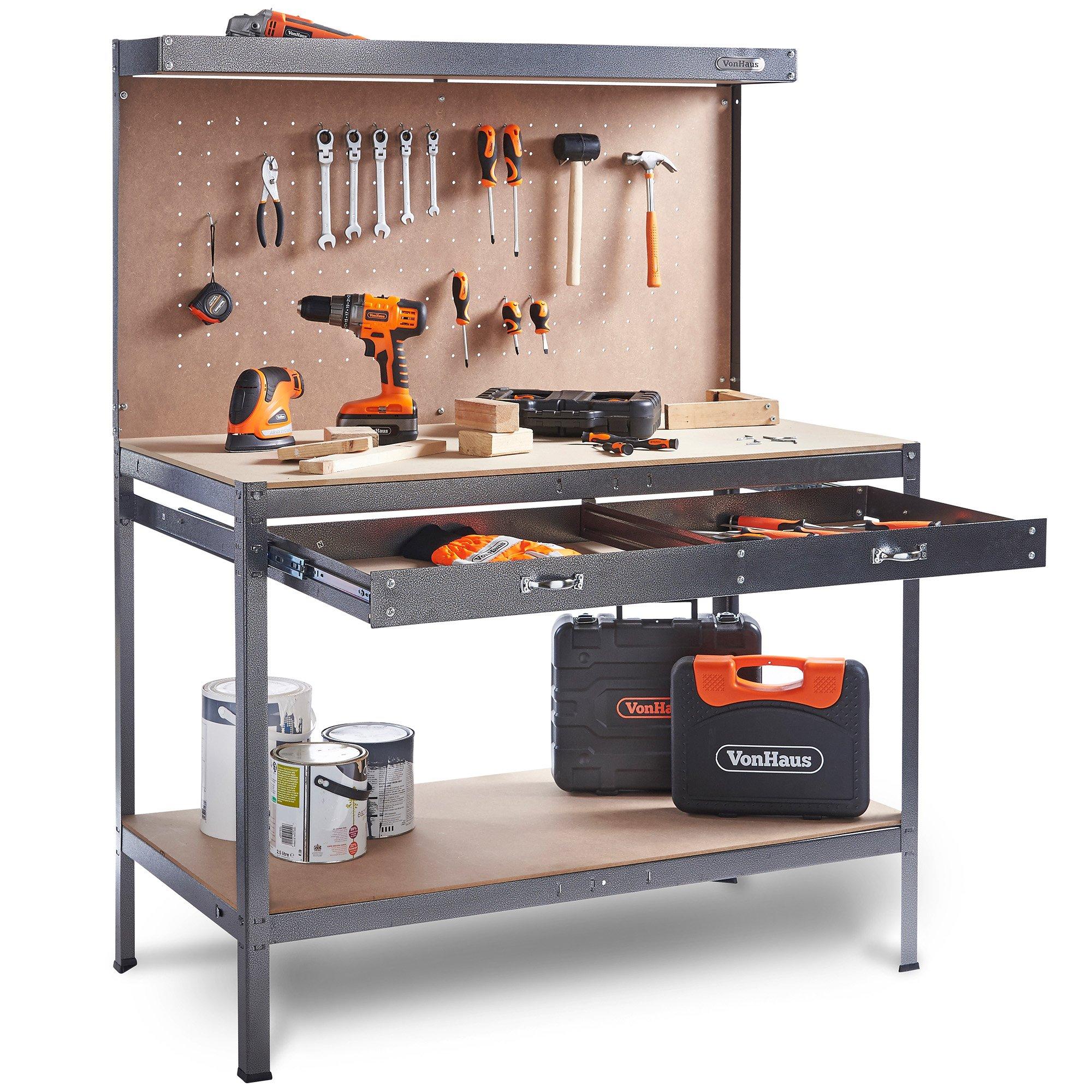 VonHaus Garage Workbench Pegboard Heavy Duty Reinforced Steel With Storage  Drawer + Shelf | Grey Hammered