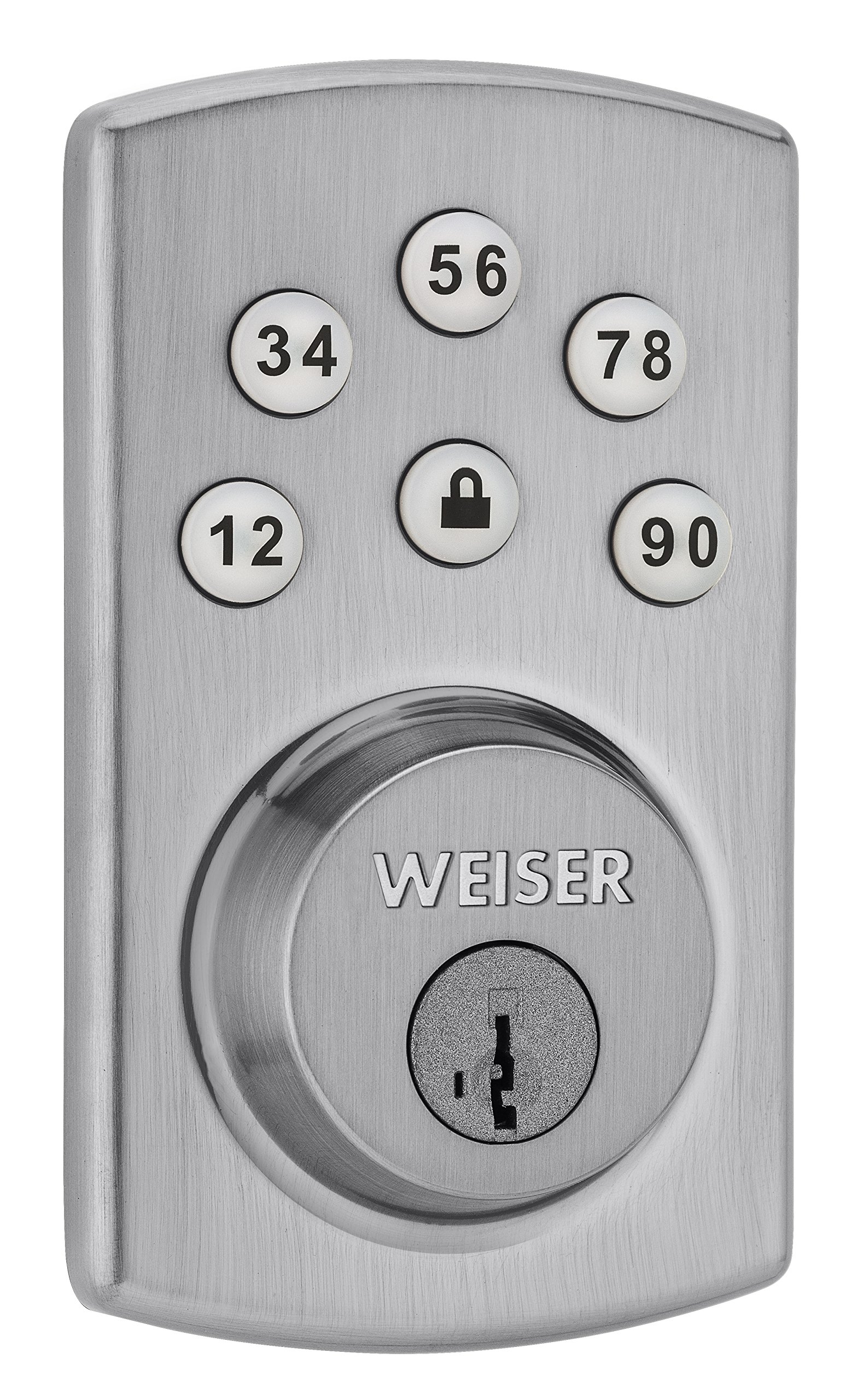 Weiser Powerbolt 2.0 Electronic Deadbolt Featuring SmartKey, Exterior Door Lock with Keypad, Satin Chrome (9GED14600-104) product image