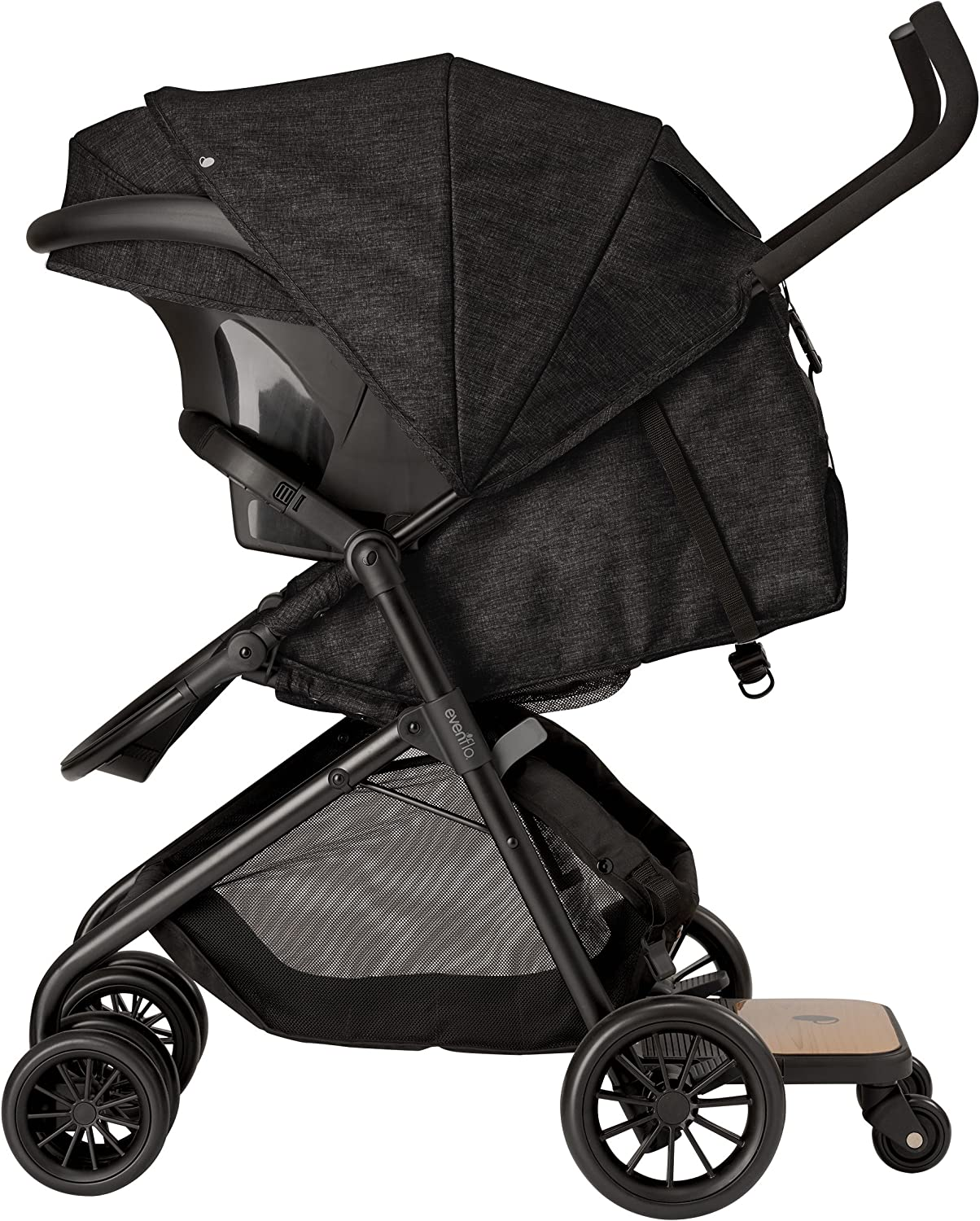 Charcoal Grey Evenflo Sibby 2 Travel System with LiteMax Infant Car Seat Large