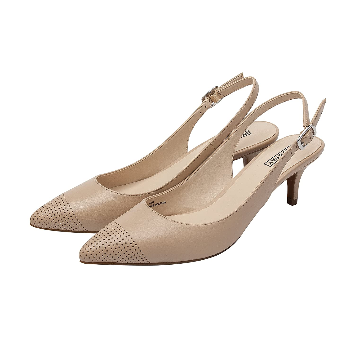 Hazel | Women's Low Heel Perforated Cap Toe Comfortable Slingback Pump B00G3EMLYU 11 B(M) US|Nude Leather