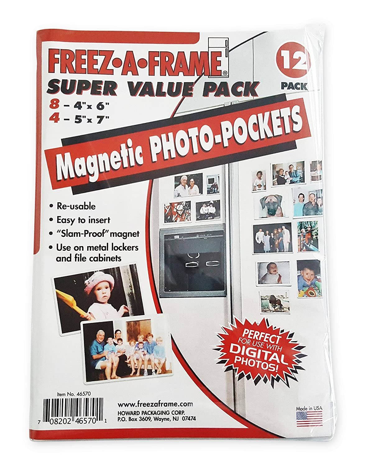 White FREEZ-A-FRAME Magnetic Photo Picture Frame Contains Eight 4 x 6 /& Four 5 x 7 Frames 12 Pack