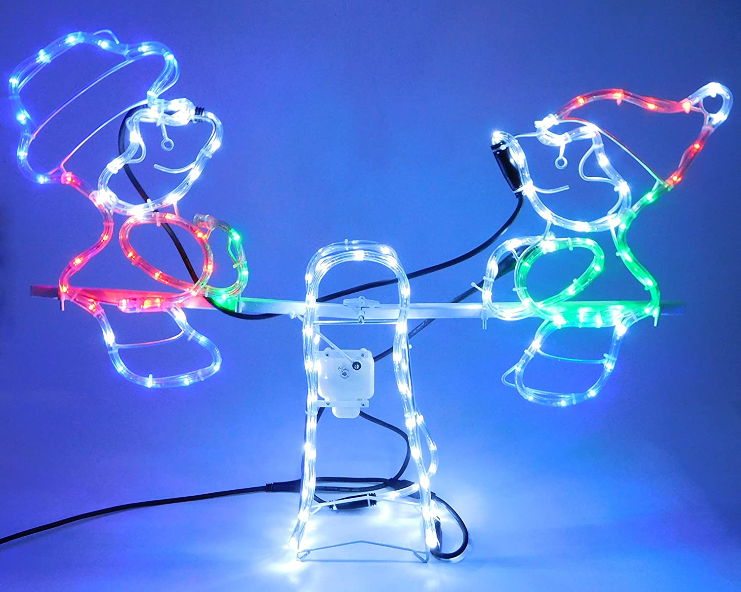 Christmas Decorations 80cm x 12cm x 63cm Christmas Concepts® Rope Light Snowman and Elf animated Seesaw