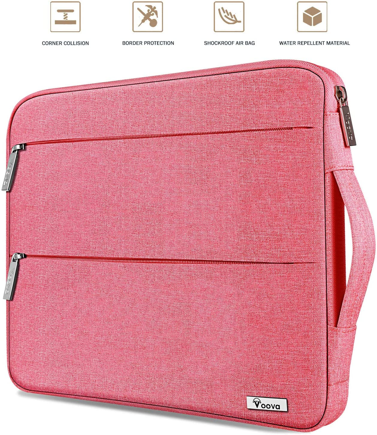 Voova Laptop Sleeve Case Compatible with 13-13.3 Inch MacBook Air/MacBook Pro, 13.5 Surface Book 2 / Laptop 3, 13 XPS/Chromebook Computer Notebook, Water Resistant Tablet Hand Bag for Women Girl, Pink