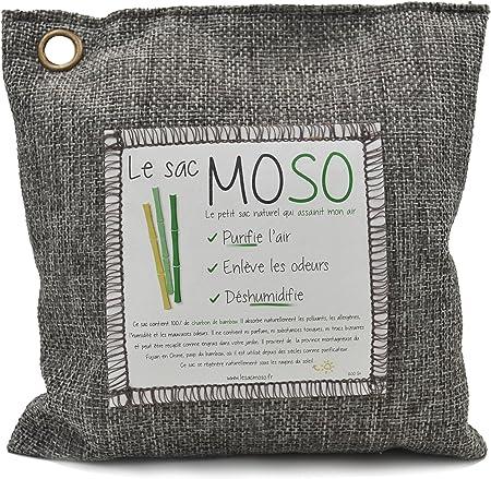 Le sac MOSO Purificateur d'air, Désodorisant, Absorbeur d'humidité, Naturel et sans Odeur au Charbon de Bambou 200 GR Charbon