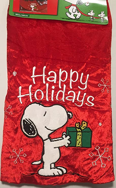 Peanuts Snoopy Christmas Tree Skirt - Red - Happy Holidays - 48 inches - Buy Peanuts Snoopy Christmas Tree Skirt - Red - Happy Holidays - 48