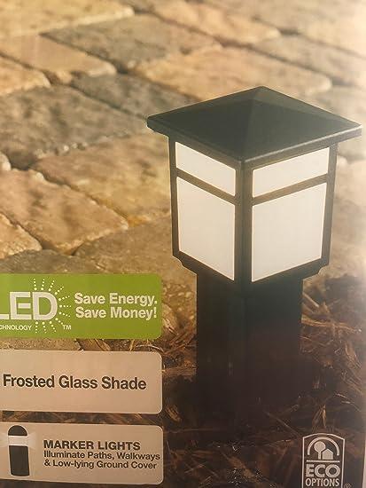 Amazon.com : Hampton Bay Low-Voltage Black Square Integrated LED Outdoor Bollard Path Light : Garden & Outdoor