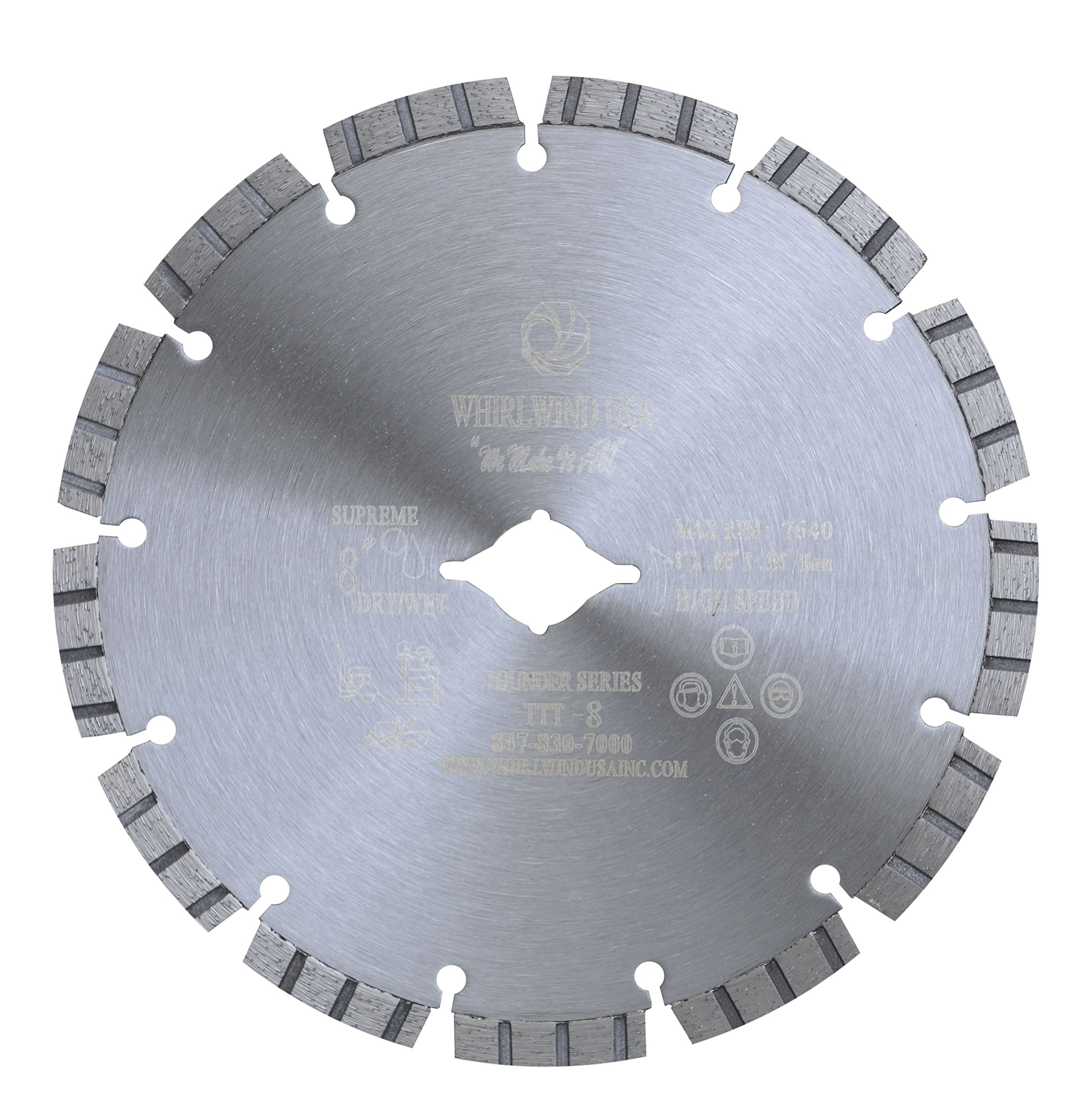 Whirlwind USA TTT 8-inch Laser Welded Dry or Wet Cutting General Purpose Supreme Turbo Power Saw Segmented Diamond Blades for Cutting Concrete and Masonry (Factory Direct Sale) (8'')