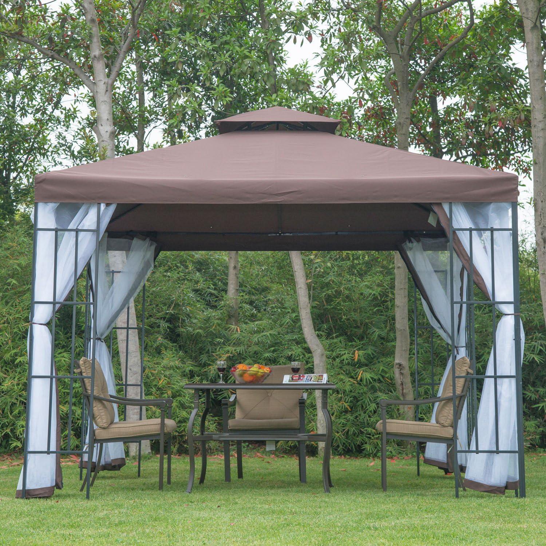 Outsunny - Cenador con Estructura metálica, 3 x 3 Metros, Laterales de Red, para terraza y jardín, Costuras protegidas contra el Agua, Color café: Amazon.es: Jardín