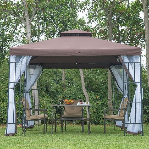 Outsunny - Cenador con Estructura metálica, 3 x 3 Metros, Laterales de Red, para terraza y jardín, Costuras protegidas contra el Agua, Color café