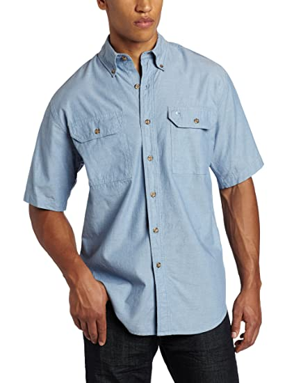 Carhartt Mens Big /& Tall Fort Short Sleeve Shirt Lightweight Chambray Button Front