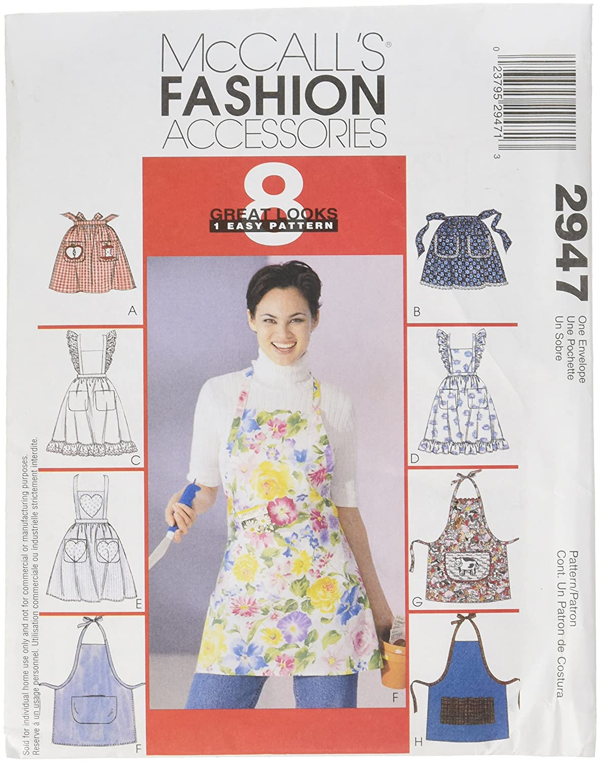 McCalls Patterns M2947 Misses Aprons One Size Only