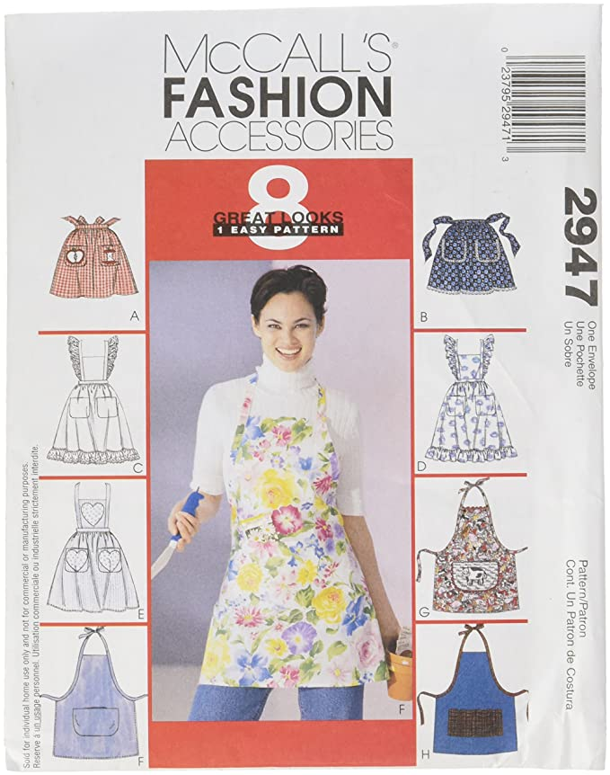 Amazon.com: McCall\'s Patterns M2947 Misses\' Aprons, One Size Only ...