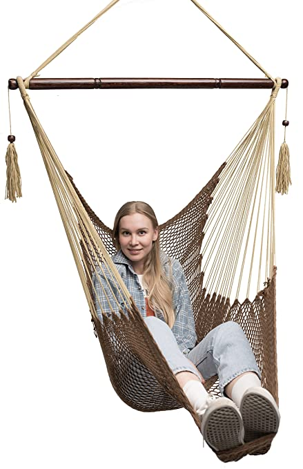 mayan hammock chair   large cotton rope hanging chair swing with wood bar    fortable amazon    mayan hammock chair   large cotton rope hanging chair      rh   amazon