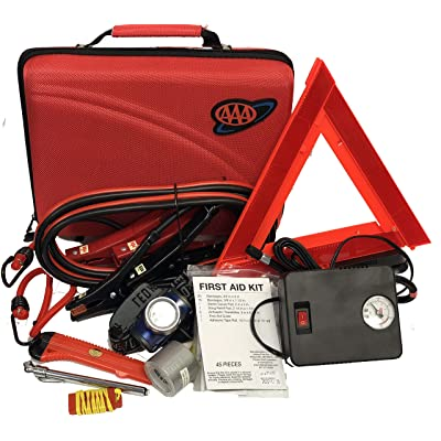 Lifeline AAA 4365AAA Destination Road, 68 Piece Emergency Car Tire Inflator, Jumper Cables, Headlamp, Warning Triangle and First Aid Kit: Automotive [5Bkhe0416486]
