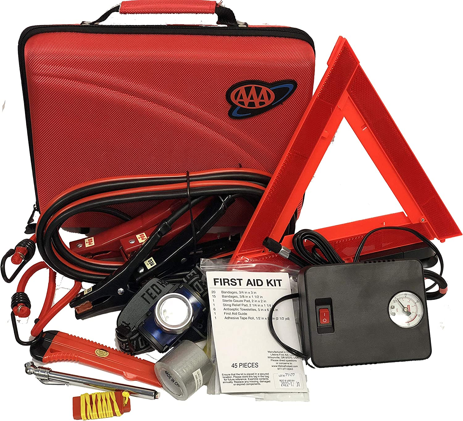 Lifeline 4365AAA 68Pc AAA Destination Road, 68 Piece Emergency Car Tire Inflator, Jumper Cables, Headlamp, Warning Triangle and First Aid Kit