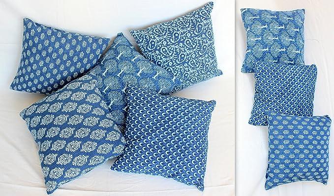 worldoftextile mano bloque impresión Indigo Azul Fundas de cojín – Juego de 5 Indian cojín: Amazon.es: Hogar