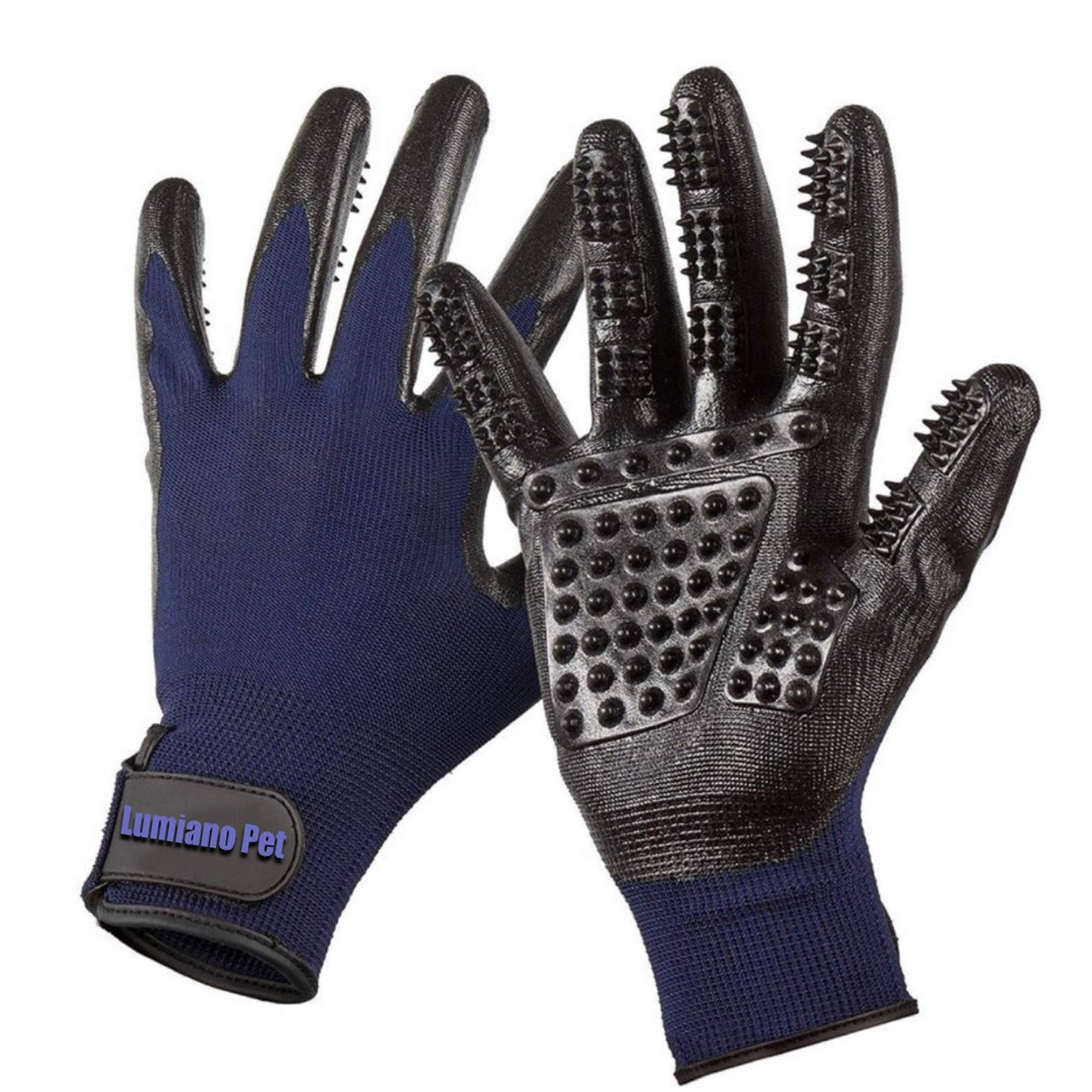 LUMIANO PET Dog Grooming Gloves-Hair Remover Deshadding Brush Glove- Mitt Gentle for Long & Short Fur, Shedding, Bathing, Massaging, for Dogs Cats Horses Big & Small (Navy Blue)