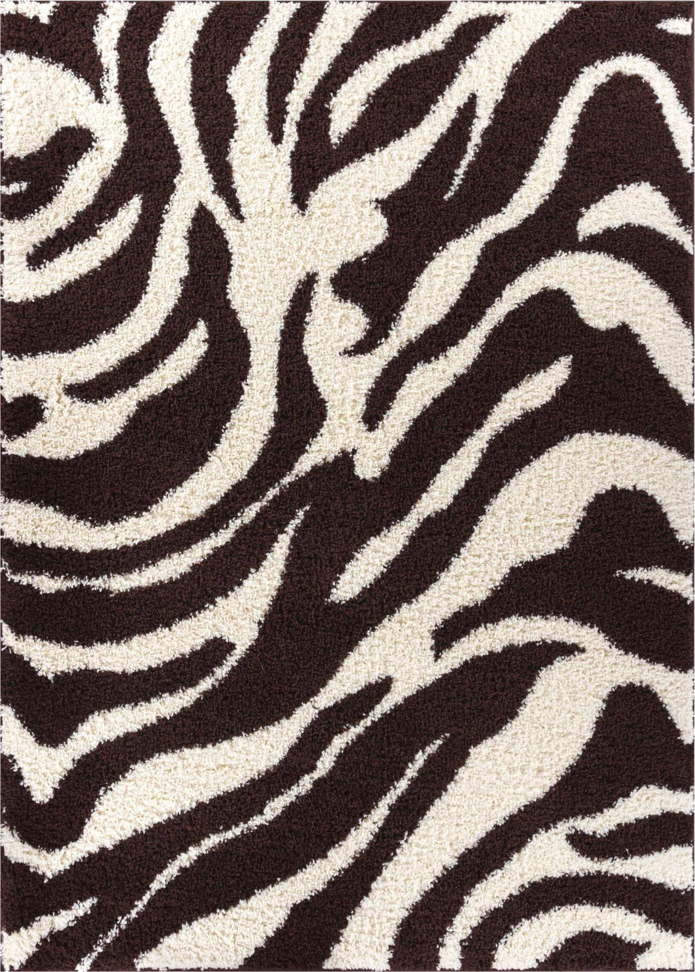 Well Woven Madison Shag Safari Zebra Brown Animal Print Area Rug 3'3'' X 5'3''