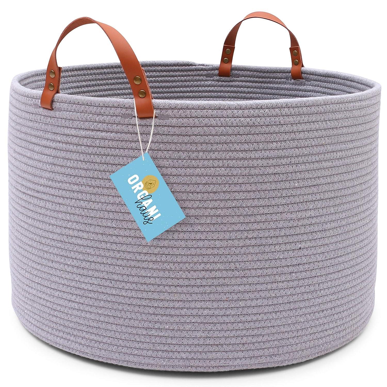 "OrganiHaus XXL Cotton Rope Basket | Wide 20""x13.3"" | Tall Blanket Storage Basket for Living Room | Decorative Laundry Hamper Basket | Large Blanket Basket (Gray)"
