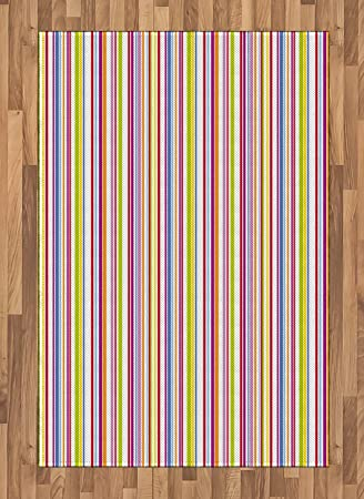 Lunarable Striped Area Rug Rainbow Colored Column Design Vivid Lines Geometric Pattern Illustration Abstract