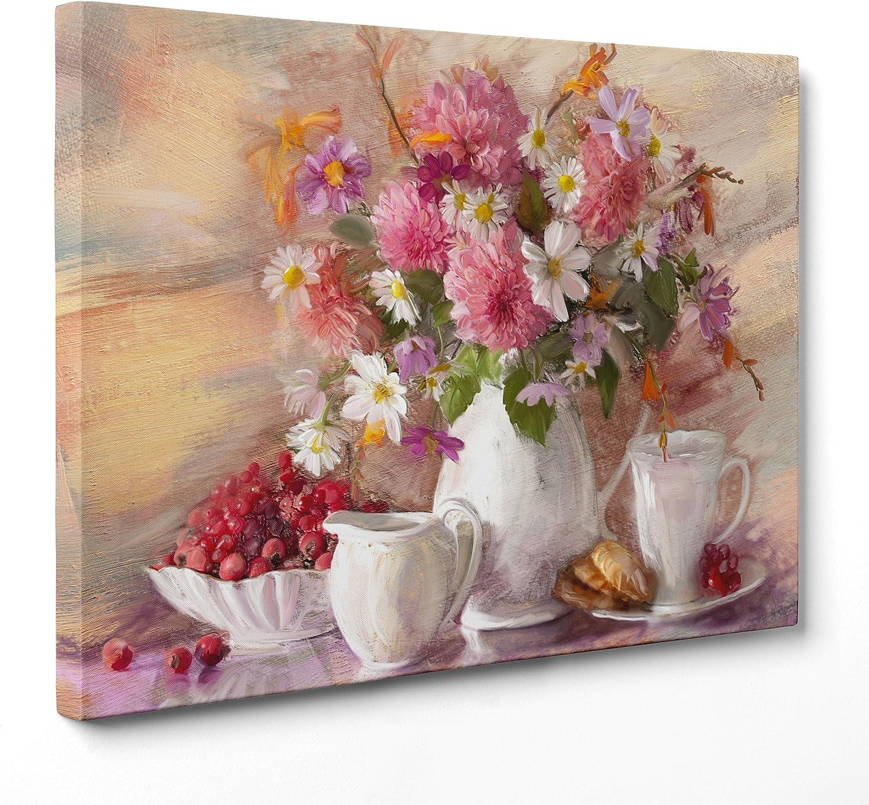 ConKrea - Cuadro sobre lienzo con bastidor - Listo para colgar - Naturaleza muerta - Jarrón con flores rosas y blancas