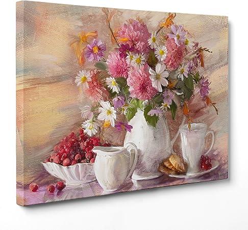 Fiori Rosa E Bianchi.Quadro Su Tela Canvas Intelaiato Pronto Da Appendere Natura