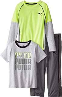 PUMA Boys' 3pc Long and Short Sleeve Tee, Pant Set