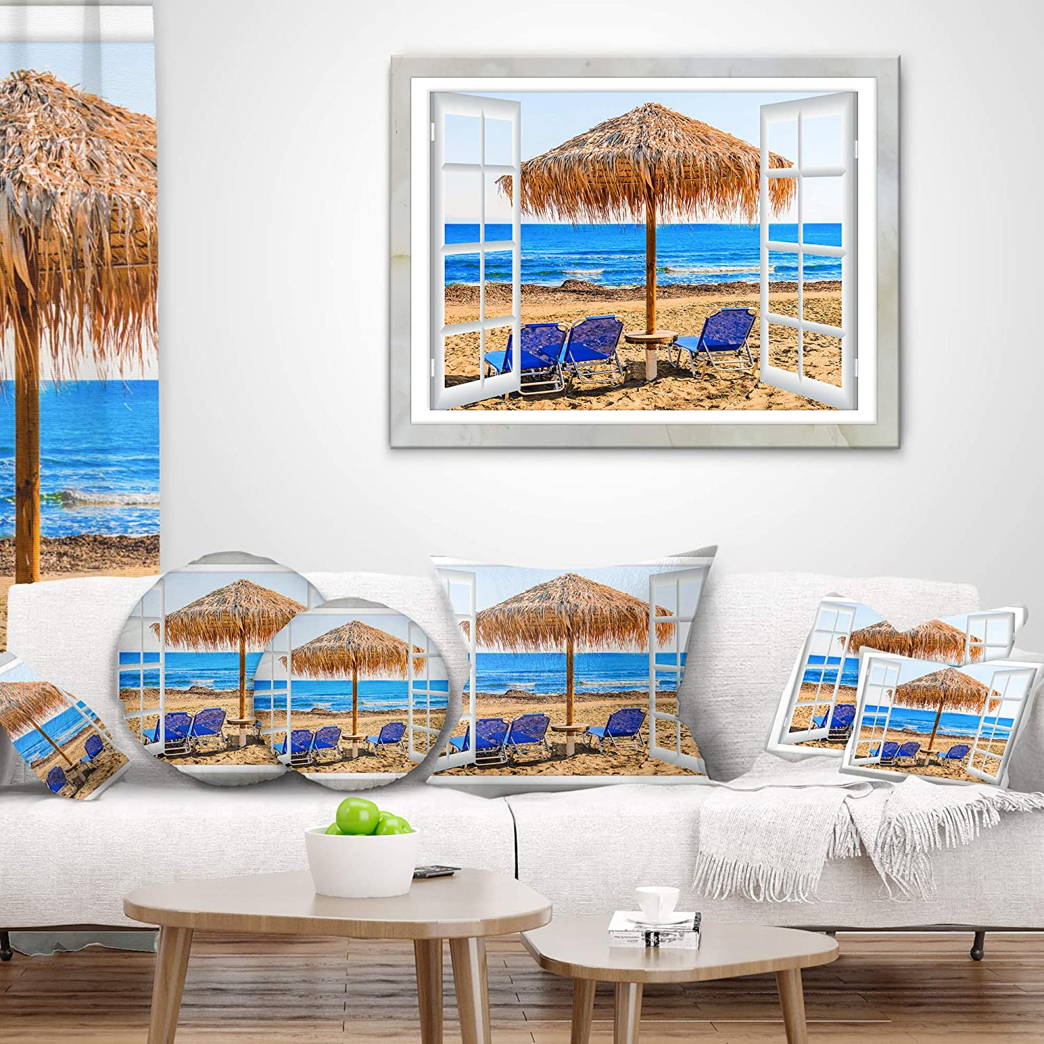 in Insert Printed On Both Side Sofa Throw Pillow 26 in x 26 in Designart CU11430-26-26 Window Open to Beach Hut with Chairs Seashore Cushion Cover for Living Room