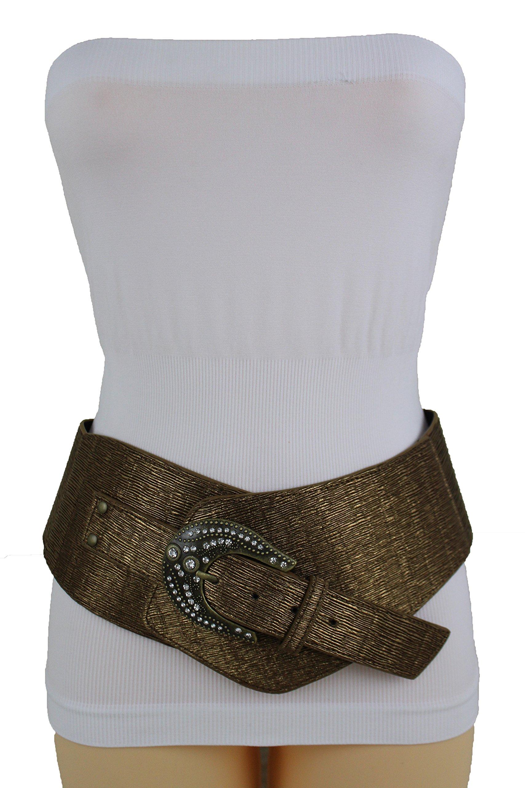 TFJ Women Wide Western Belt Waist Hip Faux Leather Plus XL XXL Bronze Brown