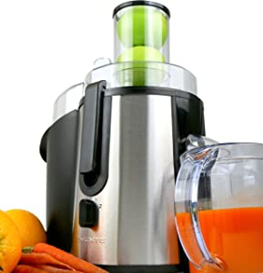 Ovente Wide Mouth Juicer High Speed Juice Extractor for Fruits and Vegetables, 700 Watts, Centrifugal Juicer (JE7607BR)