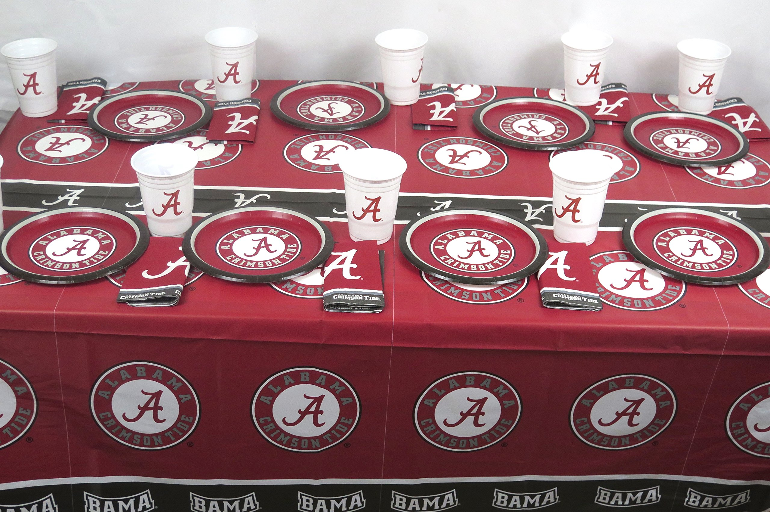 University of Alabama Crimson Tide 49 Pieces Patty Set, Includes Plates, Napkins, Jumbo Cups and a Tablecloth.