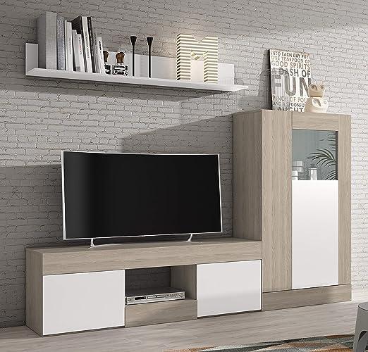 Miroytengo Lote Muebles Comedor Karla 3 módulos mobiliario salón Moderno  (Mesa TV + Vitrina Baja + Estante)