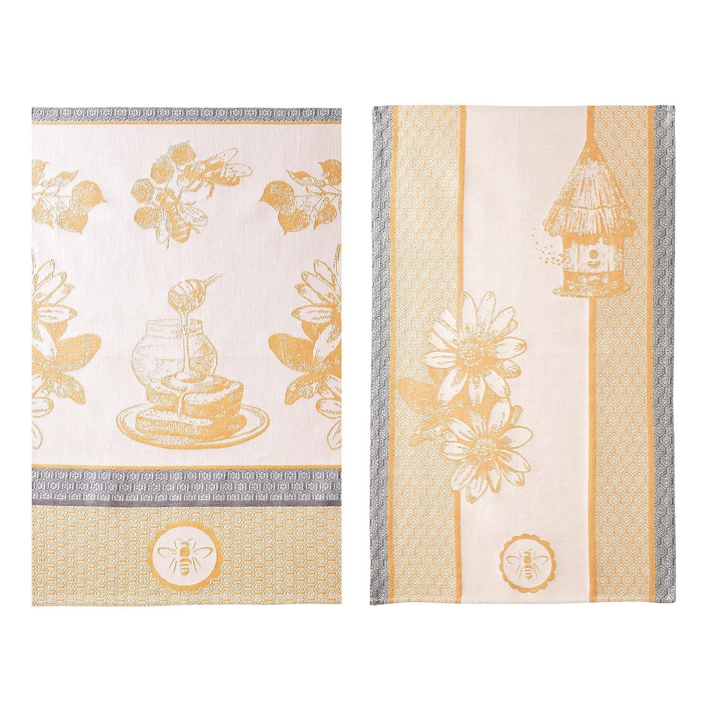 Coucke 3152193002358Yellow Gold Beehive Tea Towel Cotton 50x 75x 0.3cm Set of 2