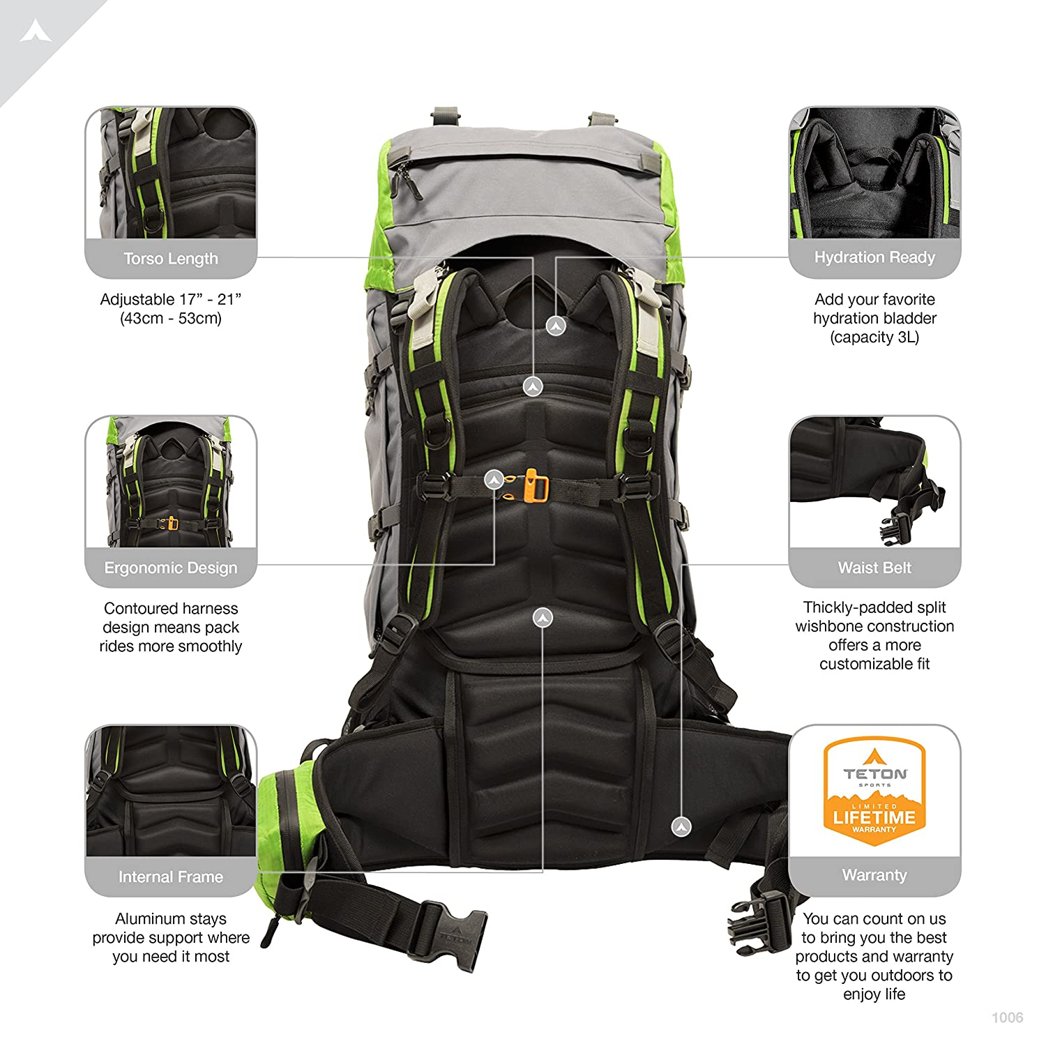 Amazon.com   TETON Sports Escape 4300 Ultralight Internal Frame Backpack - Not  Your Basic Backpack  High-Performance Backpack for Hiking 5a670d6c79e41