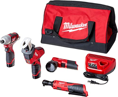 Milwaukee 2498-25 M12 12-Volt Lithium-Ion Cordless Combo Kit 5-Tool with 2 1.5Ah Batteries, Charger and Tool Bag