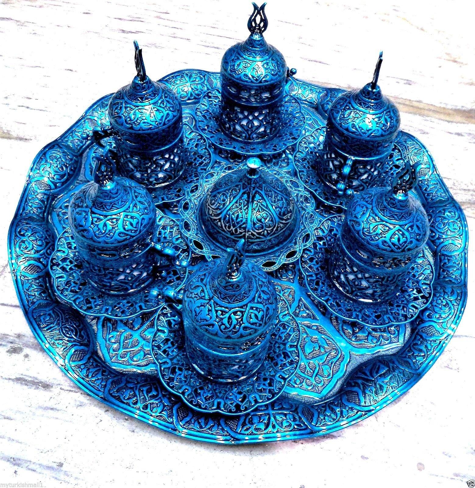 Handmade Copper and Porcelain Turkish Ottoman Coffee Espresso Set 27 Pcs ( Blue )