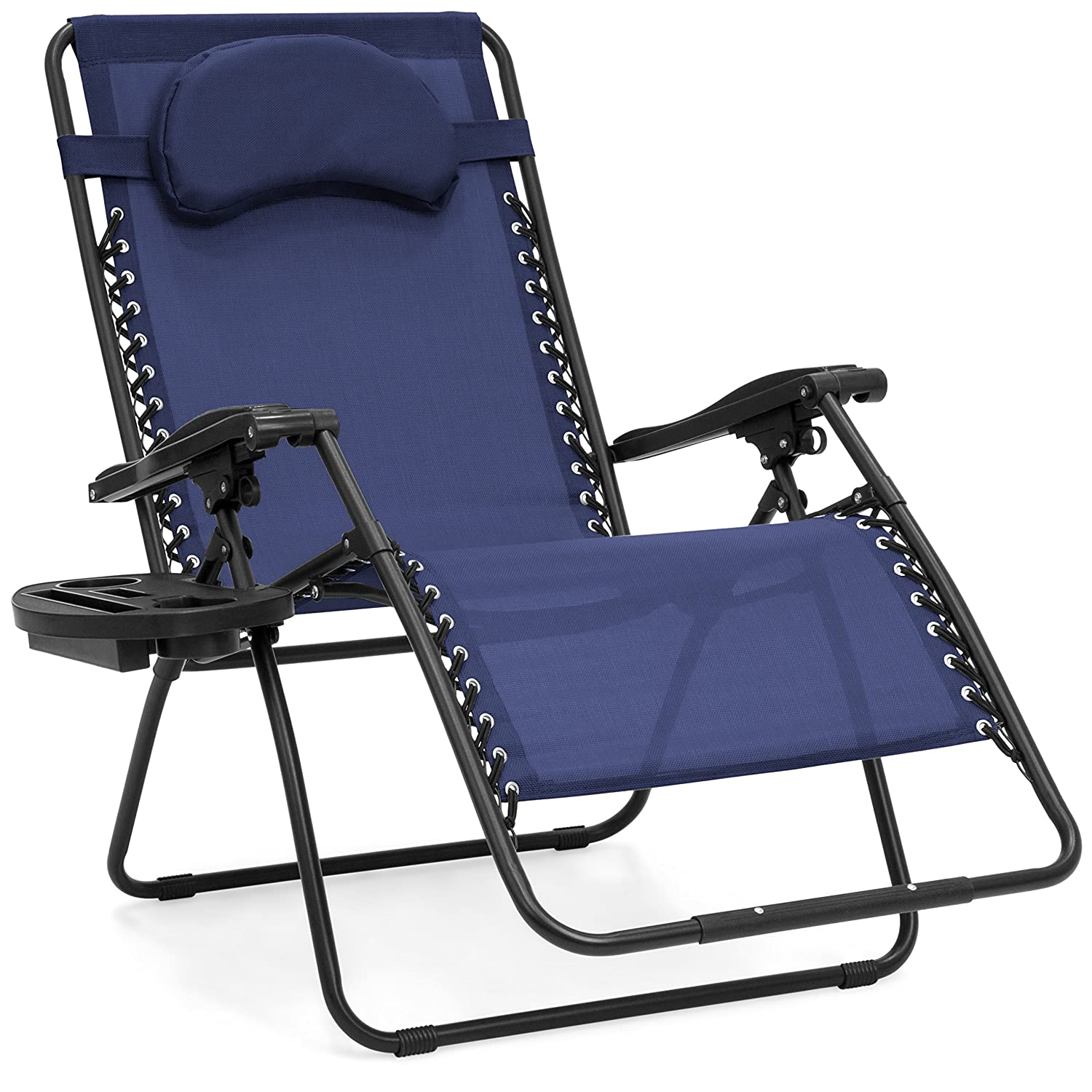 Innovative Oversize Zero Gravity Patio Lounger Reclining Chair with Detachable Cup Holder Tray on the Side, Ergonomic Armrests, Removable Pillow, Lockable Reclining System, Navy + Expert Home Guide