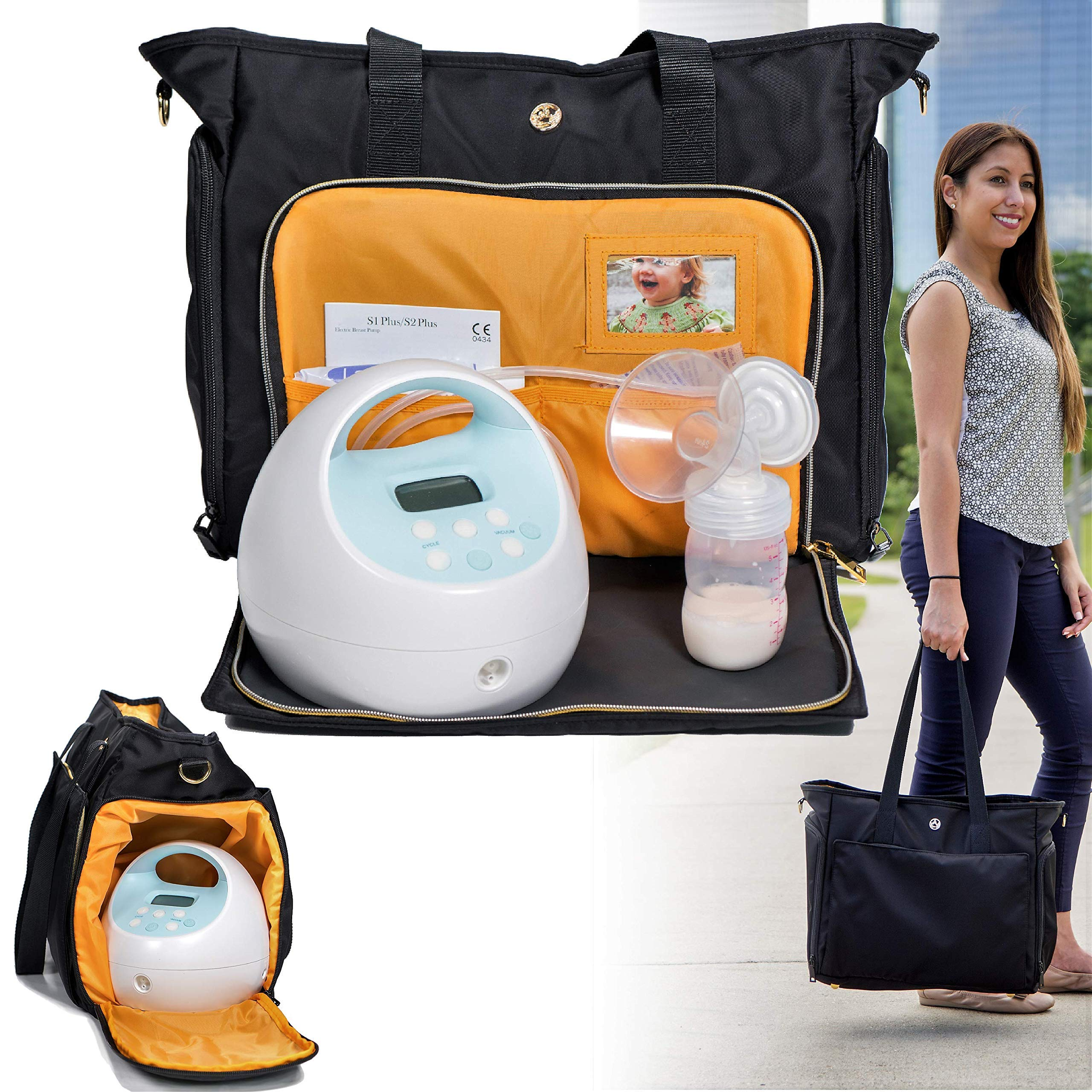 Zohzo Lauren Breast Pump Bag - Portable Tote Bag Great for Travel or Storage - Includes Padded Laptop Sleeve - Fits Most Major Pumps Including Medela and Spectra Breastpump (Black) by Zohzo
