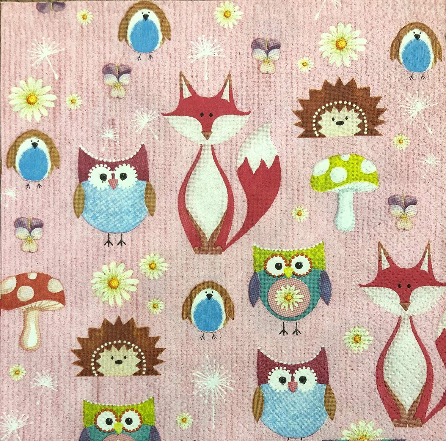 2 single Paper Napkins for DECOUPAGE Crafts Collection Kids Christmas New Year owl Birds