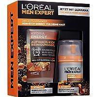 L'Oréal Men Expert Hydra Energy Geschenkset, für Männer 24H Feuchtigkeitspflege mit Guarana (50 ml) und Waschgel (150 ml) für die tägliche Gesichtspflege