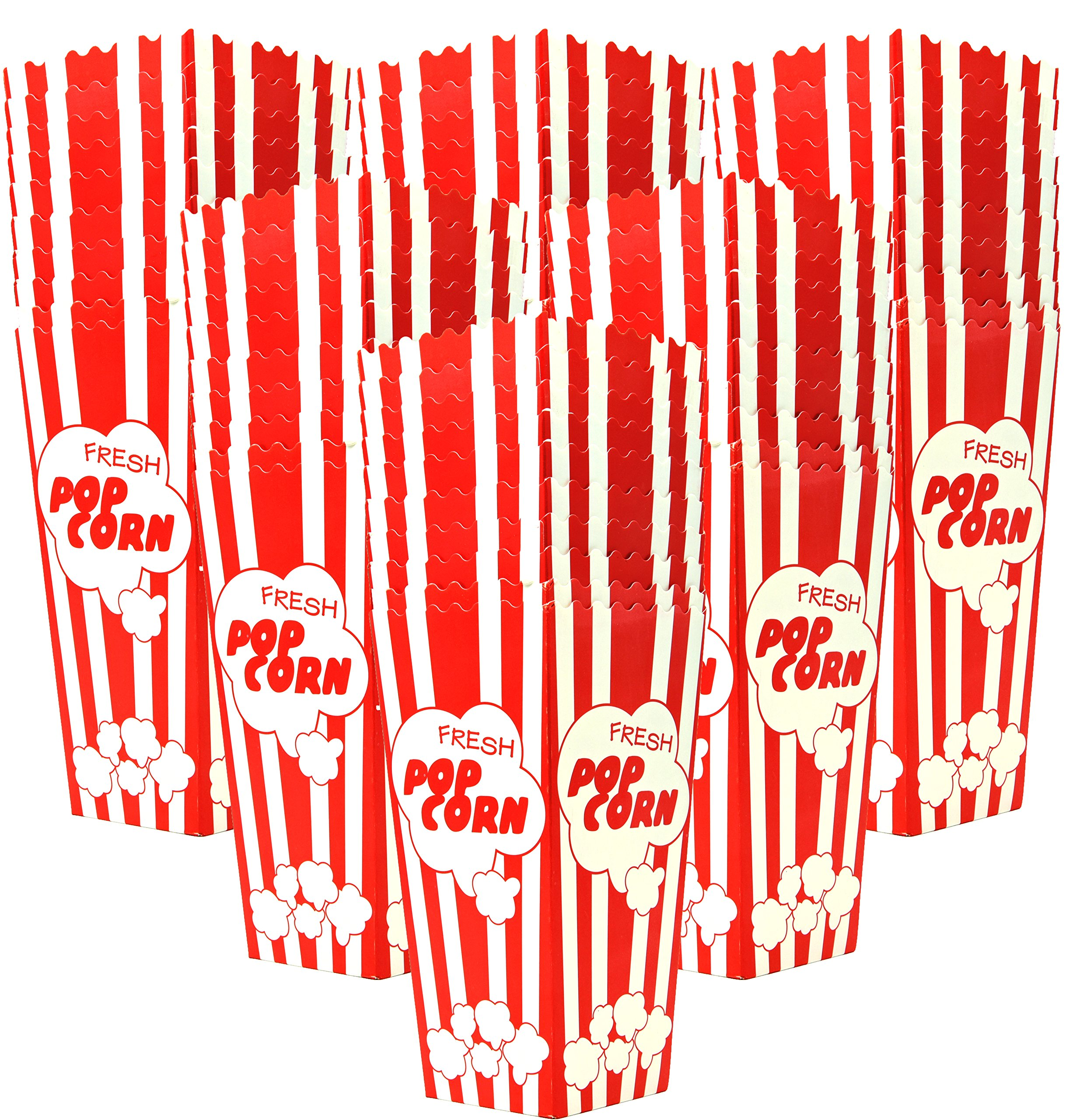 60 Individual Disposable Popcorn Boxes with Old Fashion Vintage Retro Design with Red and White Colored, Nostalgic Carnival Stripes, A Huge 7.75'' Inches Tall and Hold 46 Oz. by Original Salbree by Salbree (Image #1)