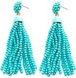 VK Accessories Bead Fringe Dangle Earrings Soriee Drop Earrings Beaded Tassel Ear Drop